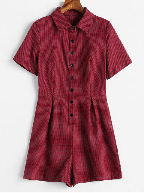 Kurzarm Houndstooth Strampler - Roter Wein M Mobile
