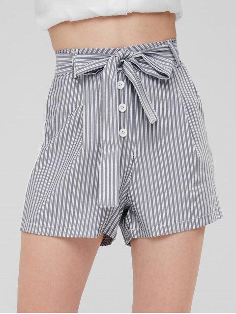 Short Rayée Ceinturée avec Poches à Taille Haute - Gris XL Mobile