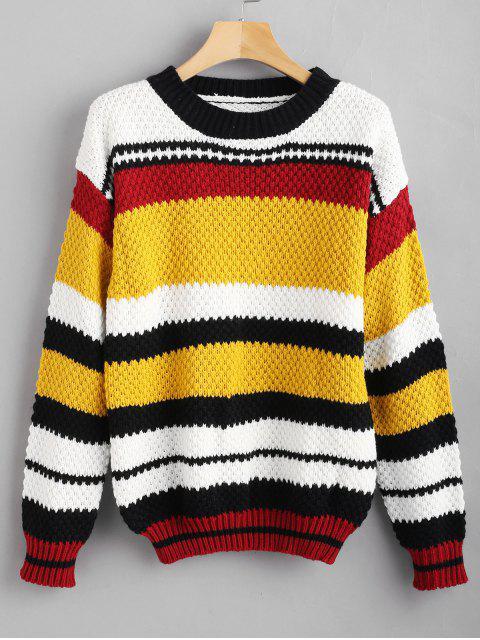 Lose Streifen Drop Shoulder Sweater - Multi Eine Größe Mobile