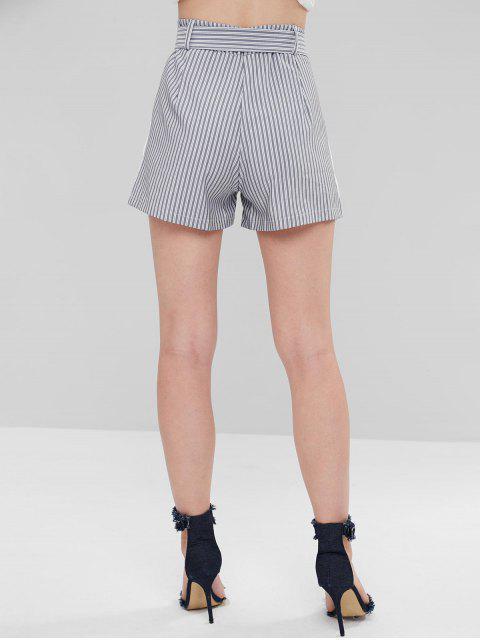 Short Rayée Ceinturée avec Poches à Taille Haute - Gris L Mobile