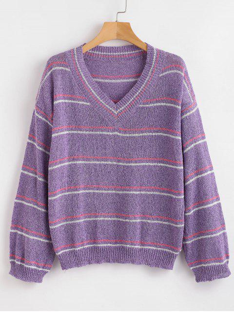 Pullover mit V-Ausschnitt - Lila Eine Größe Mobile