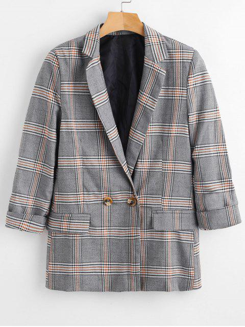 chic Plaid Flap Pocket Blazer - MULTI S Mobile
