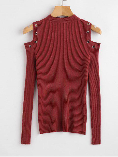 Ösen Trim Cold Shoulder Sweater - Roter Wein M Mobile