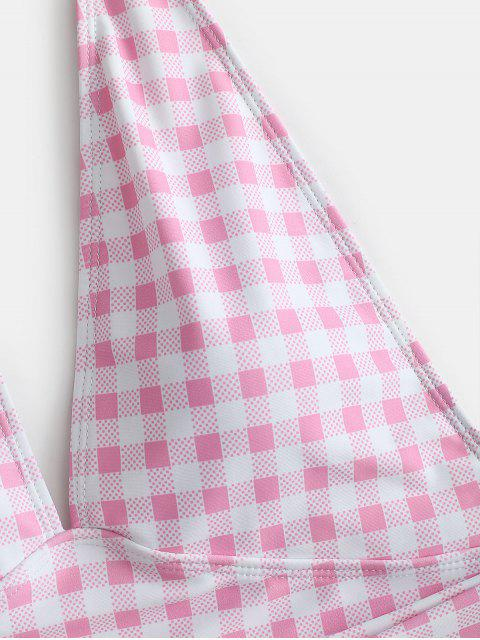ZAFUL Plaid Bowknot halter traje de baño - Cerdo Rosa L Mobile