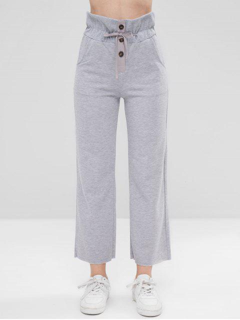 Pantalones con cordones delanteros con botones - Gris Talla única Mobile