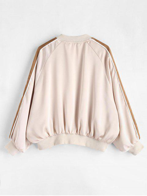 buy Raglan Sleeve Zipper Bomber Jacket - WARM WHITE S Mobile
