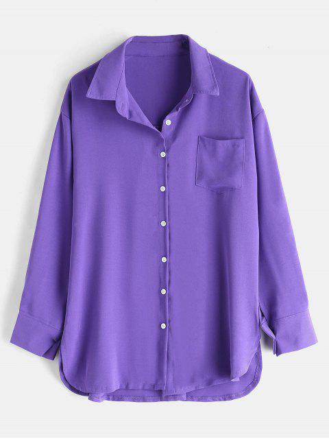 Drop Shoulder Patch Tasche entspanntes Freizeithemd - Lila Eine Größe Mobile