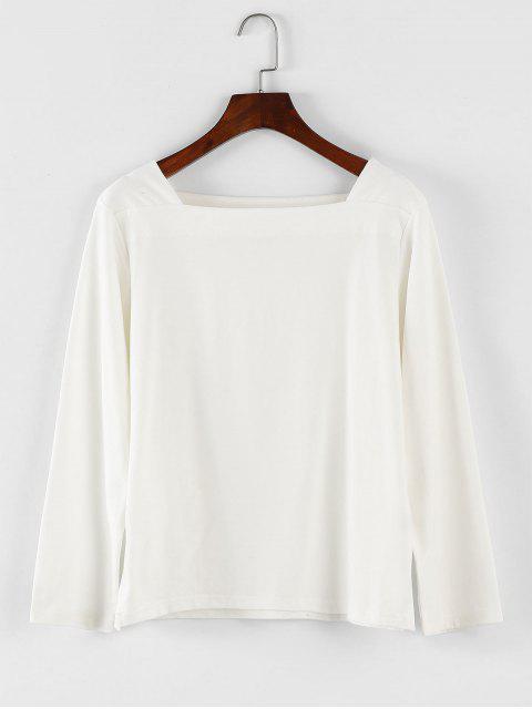 Square Neck Langarm-T-Shirt - Weiß Eine Größe Mobile