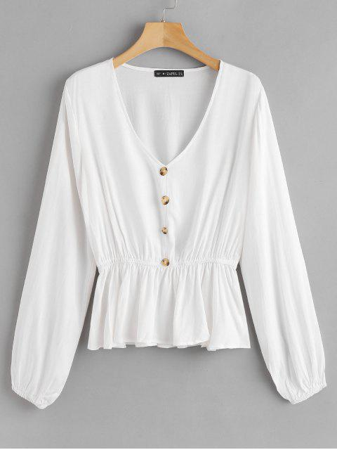 ZAFUL Knopf V-Ausschnitt Bluse - Weiß S Mobile