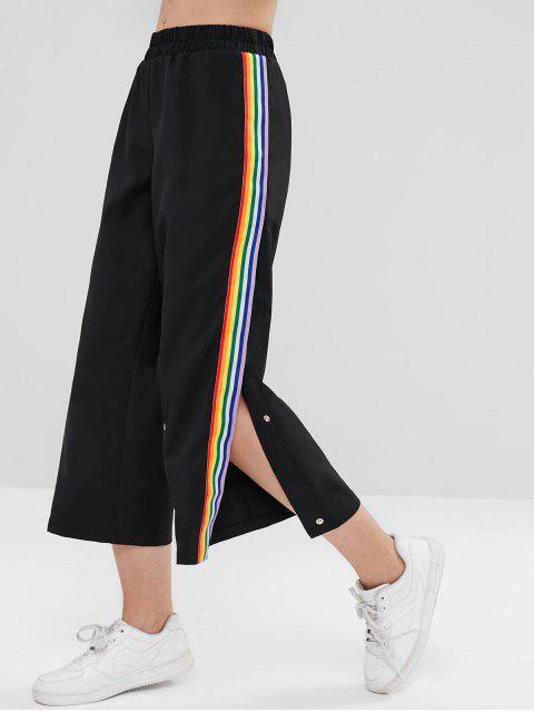 Pantalon boutonné à rayures arc-en-ciel - Noir M Mobile