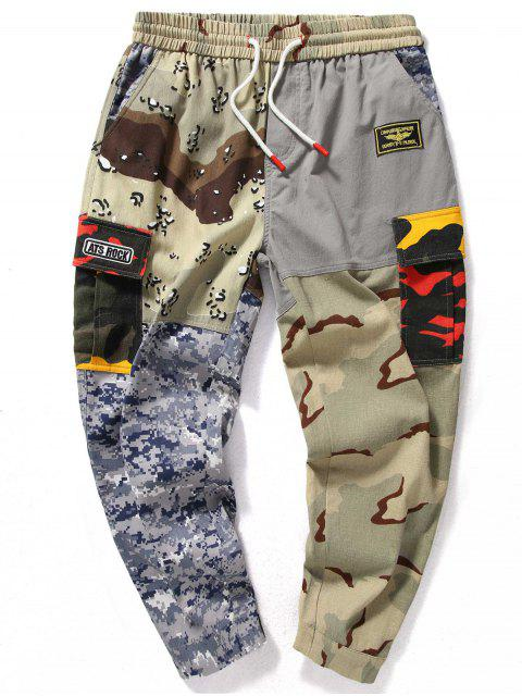 Camo Patchwork Elastische Taille Jogger Hose - ACU Tarnanstrich L Mobile