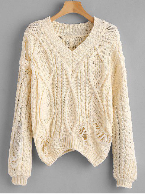 Zerrissene Chunky Knit lose Pullover - Beige Eine Größe Mobile