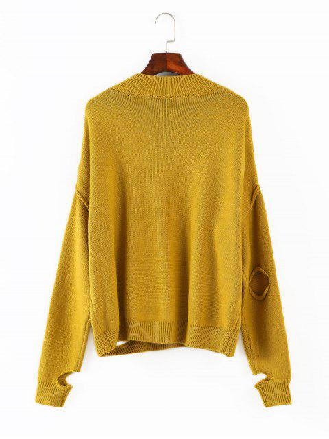 trendy V Neck Cutout Sweater - GOLDENROD ONE SIZE Mobile