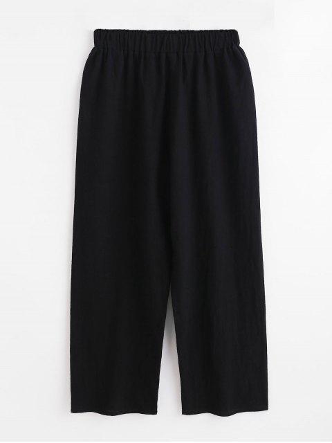 Pantalones de pierna ancha de cintura alta - Negro M Mobile