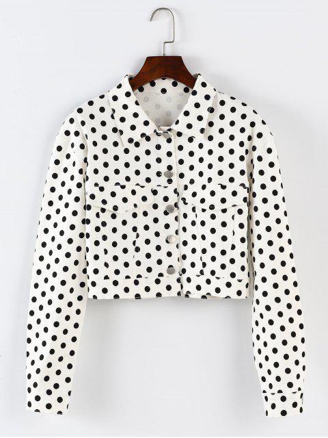 ZAFUL - Gepunktete Jacke mit Polka-Dot-Knopfleiste - Weiß S Mobile