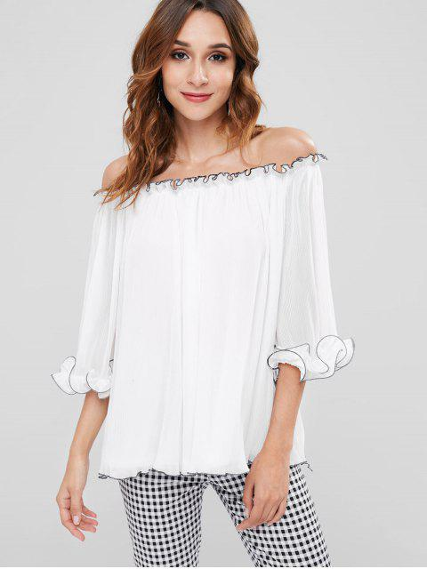 fancy ZAFUL Pleated Off Shoulder Blouse - WHITE M Mobile