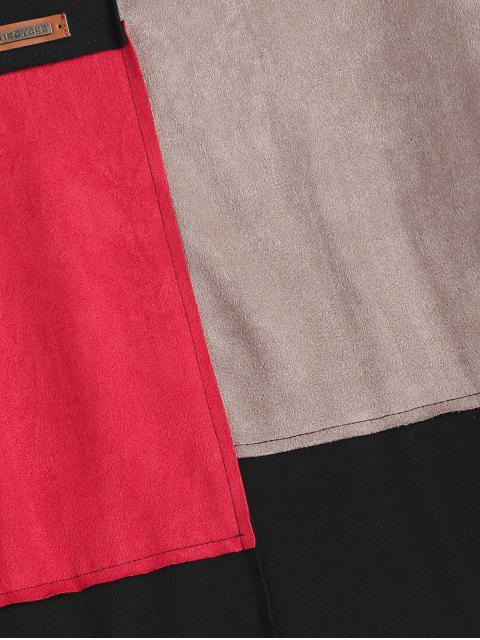 hot Faux Suede Trim Color Block T-shirt - BLACK 2XL Mobile