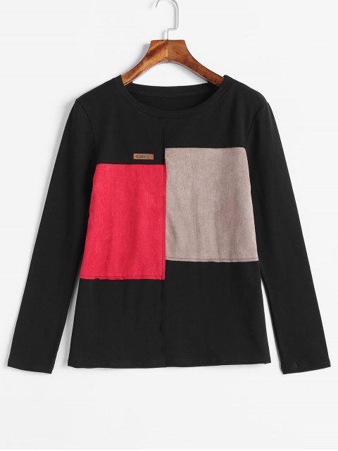 T-shirt en Blocs de Couleurs à Ourlet en Faux Daim - Noir 2XL Mobile