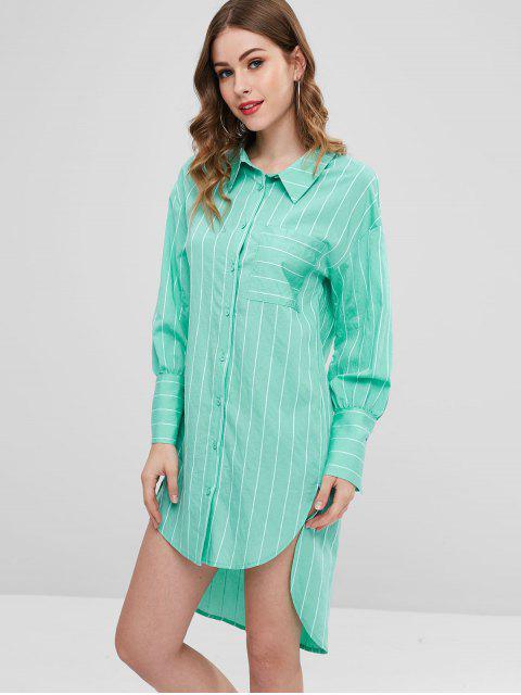 ZAFUL Robe Chemise Rayée - Vert Clair de Mer L Mobile