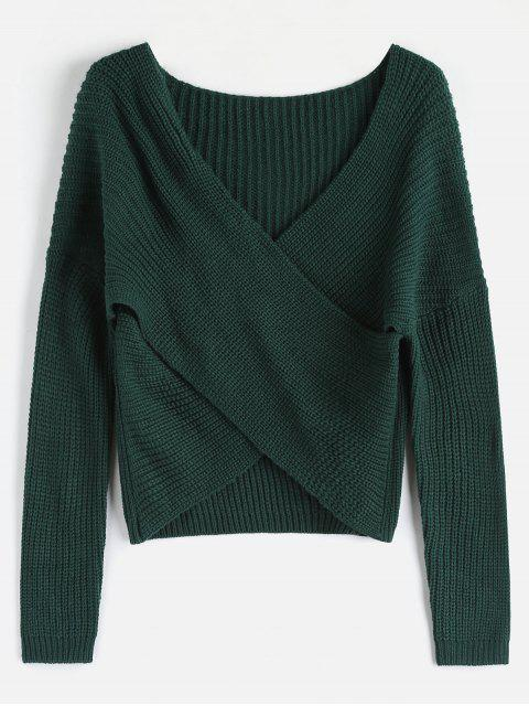 trendy ZAFUL Chunky Knit Overlap Sweater - DEEP GREEN ONE SIZE Mobile