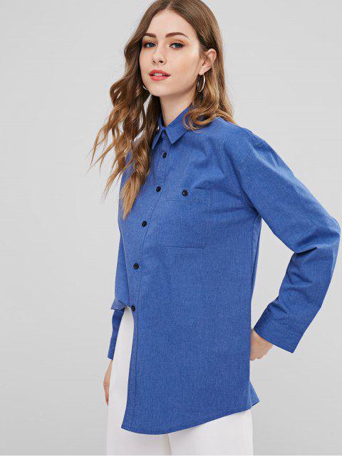 Camisa de mezclilla con botones de bolsillo ZAFUL - Azul Oscuro de Denim L Mobile