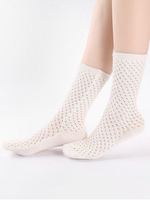 Chaussettes mi-mollet creuses de couleur unie vintage - Blanc  Mobile