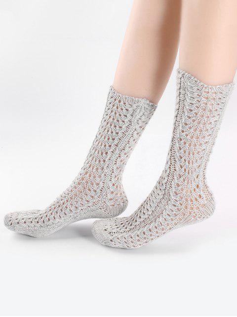 Vintage chaussettes tricotées - Gris Clair  Mobile
