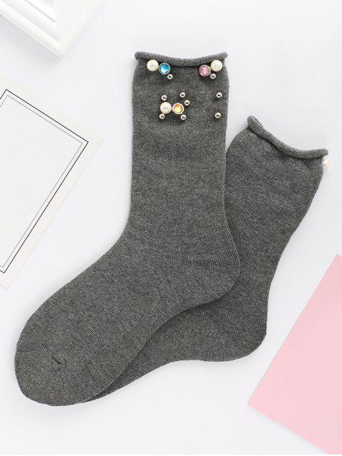 Calcetines de media caña de imitación de color perla de imitación de color - Delfín Gris  Mobile