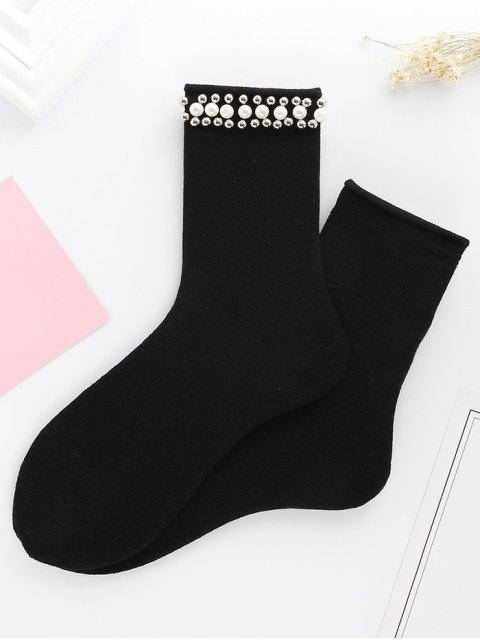 Mignon Faux Perle Tricoté Socquettes - Noir  Mobile