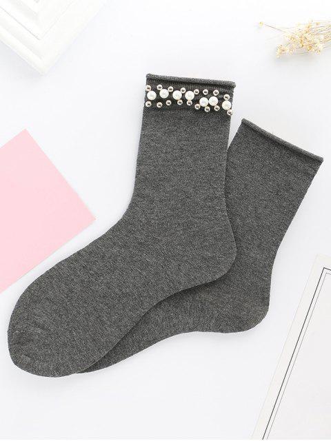 Lindos calcetines de punto de perlas de imitación de perlas - Gris  Mobile