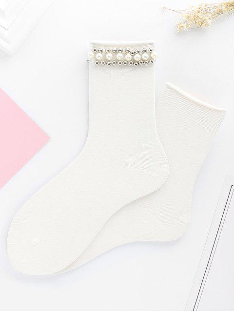 Mignon Faux Perle Tricoté Socquettes - Blanc  Mobile
