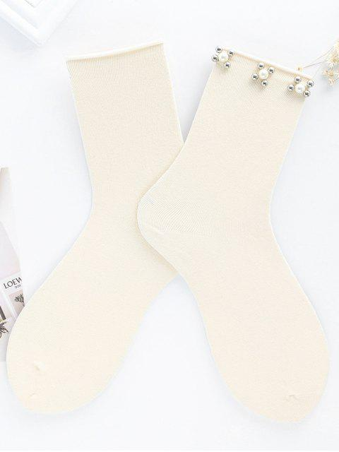 Socquettes en Faux Perles Florales Vintage - RAL1001Beige  Mobile