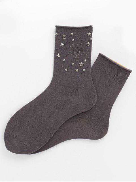 Calcetines de tobillo decorativos estrella de remaches únicos - Gris  Mobile