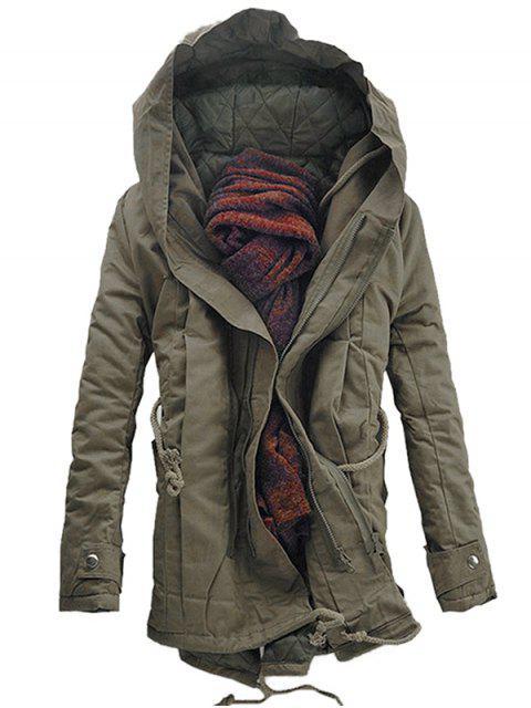 Mit Kapuze gepolsterter Parka-Mantel mit doppeltem Reißverschluss - Dunkles Khaki XL  Mobile