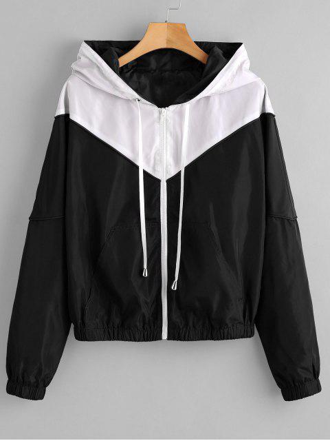 fashion ZAFUL Zip Up Two Tone Windbreaker Jacket - BLACK S Mobile