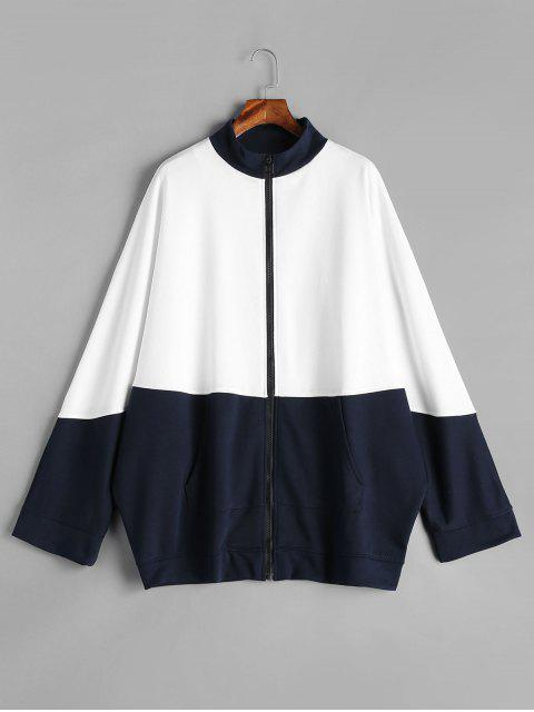 trendy Color Block Batwing Zipper Sweatshirt - WHITE ONE SIZE Mobile