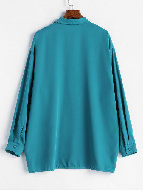 best Side Cut Out Long Sleeve Shirt - PEACOCK BLUE ONE SIZE Mobile