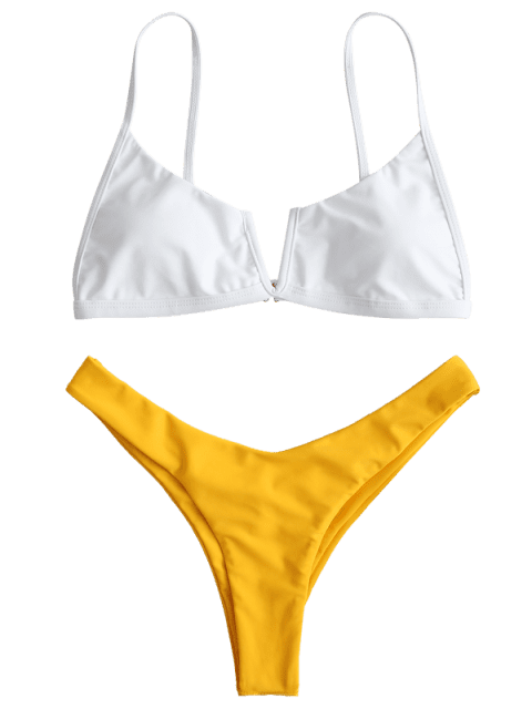 online ZAFUL Color Block High Cut Bikini Set - BRIGHT YELLOW L Mobile