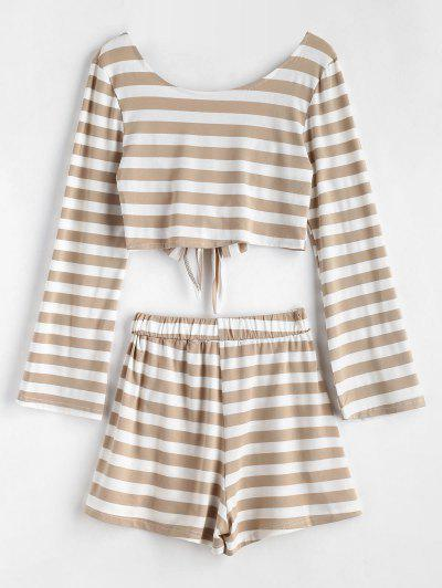 Knotted Back Striped Top Set - Multi S