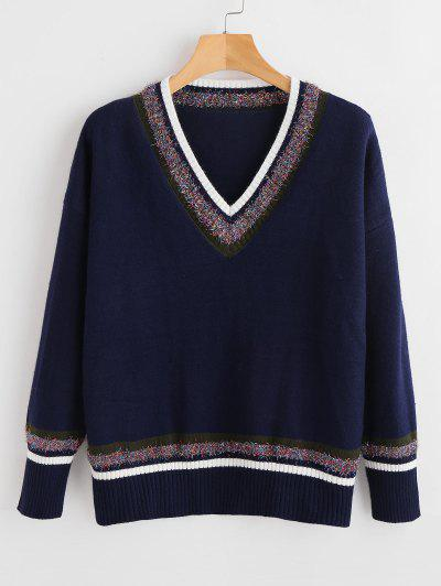 Threads Embellished Striped Sweater - Midnight Blue
