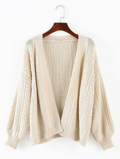 Lantern Sleeves Chunky Cardigan - Warm White