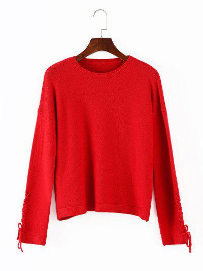 Lace Up Loose Sweater - Red