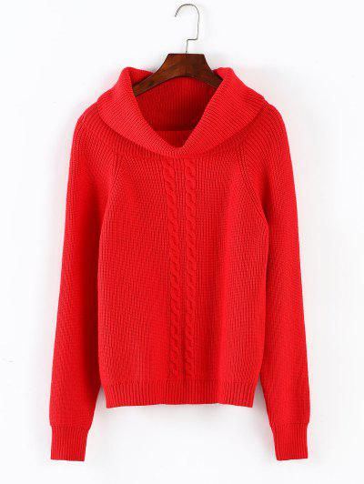 ZAFUL Hemp Flower Christmas Turtleneck Sweater - Red