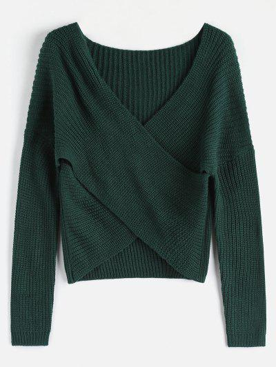 ZAFUL Chunky Knit Overlap Sweater - Deep Green 328c2bef1
