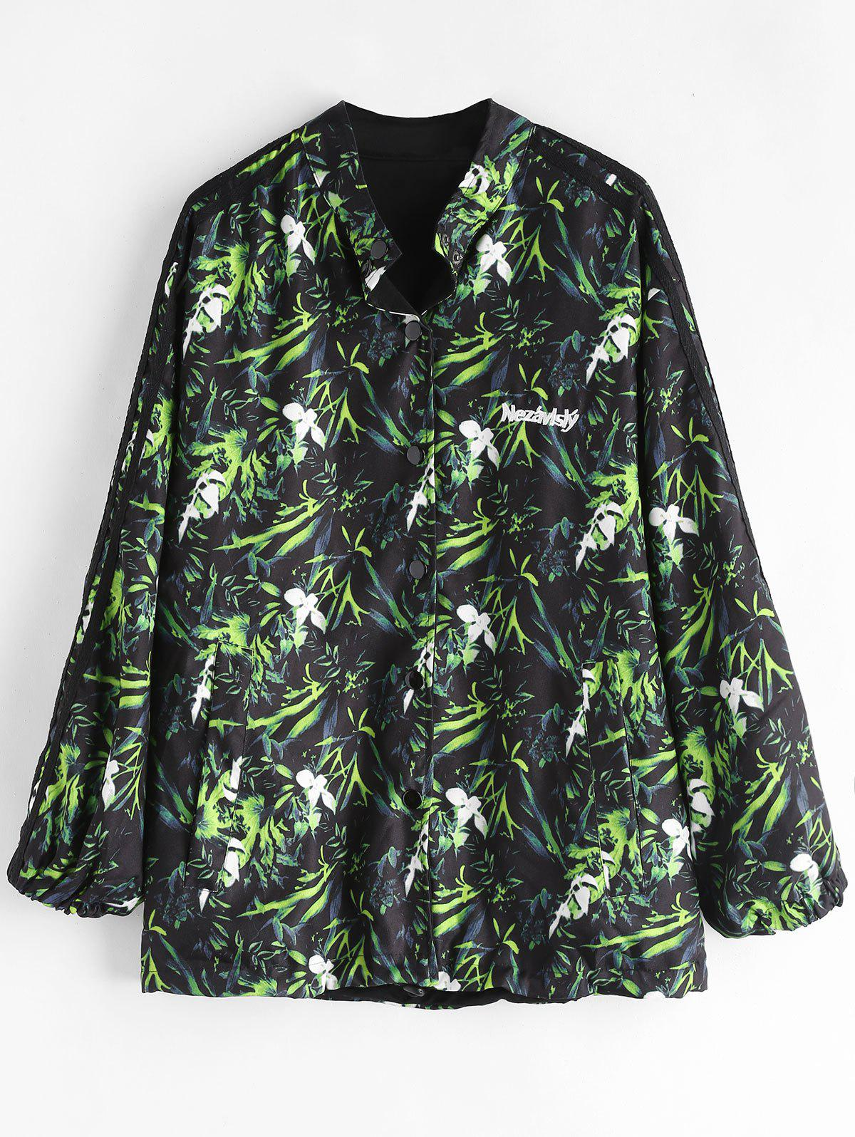 Button Front Printed Oversized Jacket