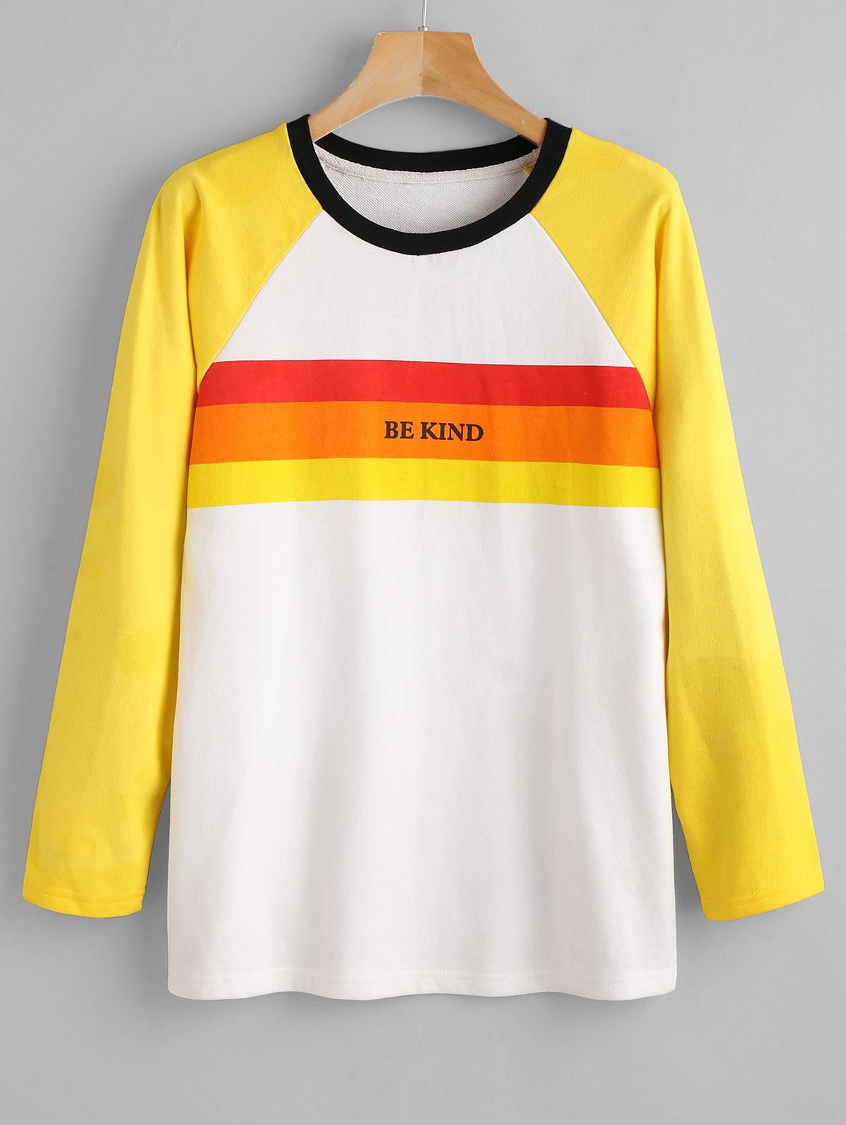 ZAFUL Raglan Sleeve Graphic Striped Sweatshirt