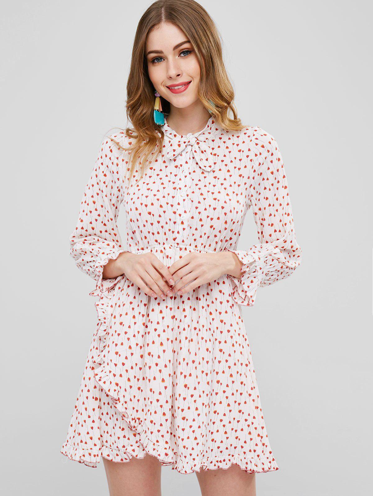 Heart Print Asymmetric Bowtie Dress