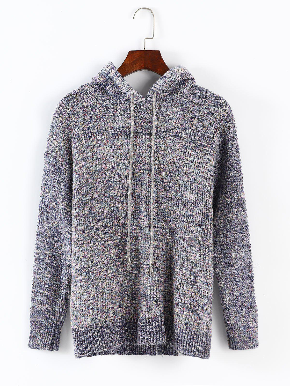 Hooded Drawstring Pullover Sweater, Multi