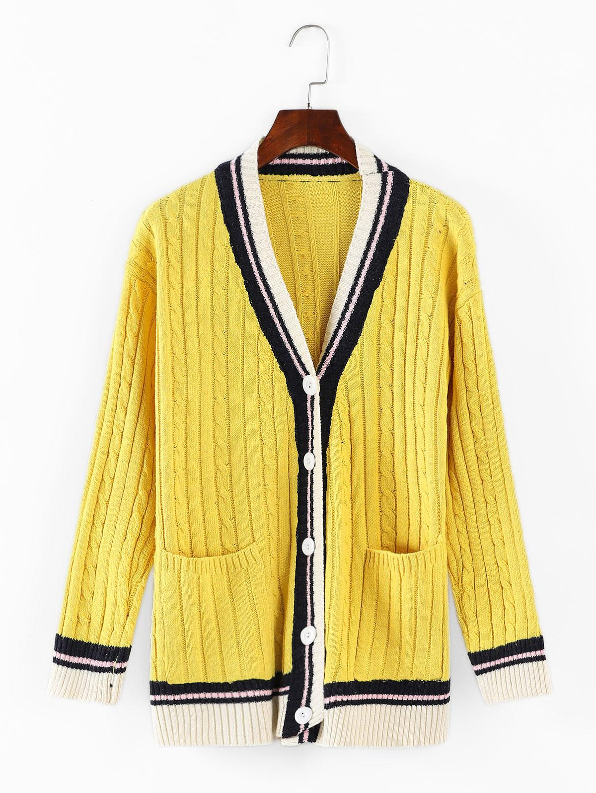Cable Knit Buttoned Cardigan
