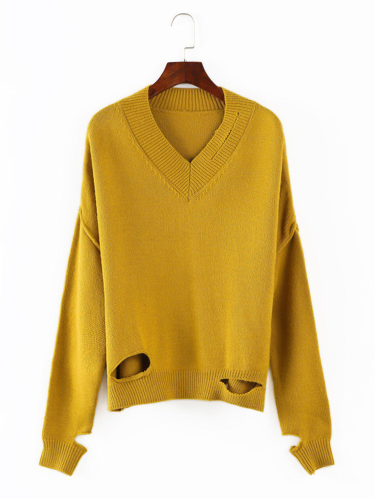V Neck Cutout Sweater